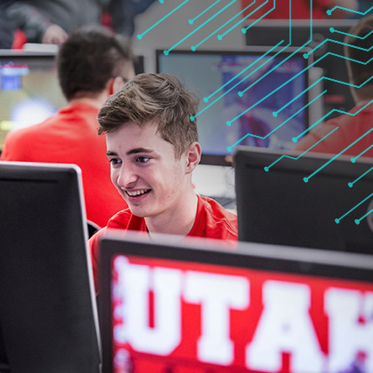 Student in University of Utah computer lab